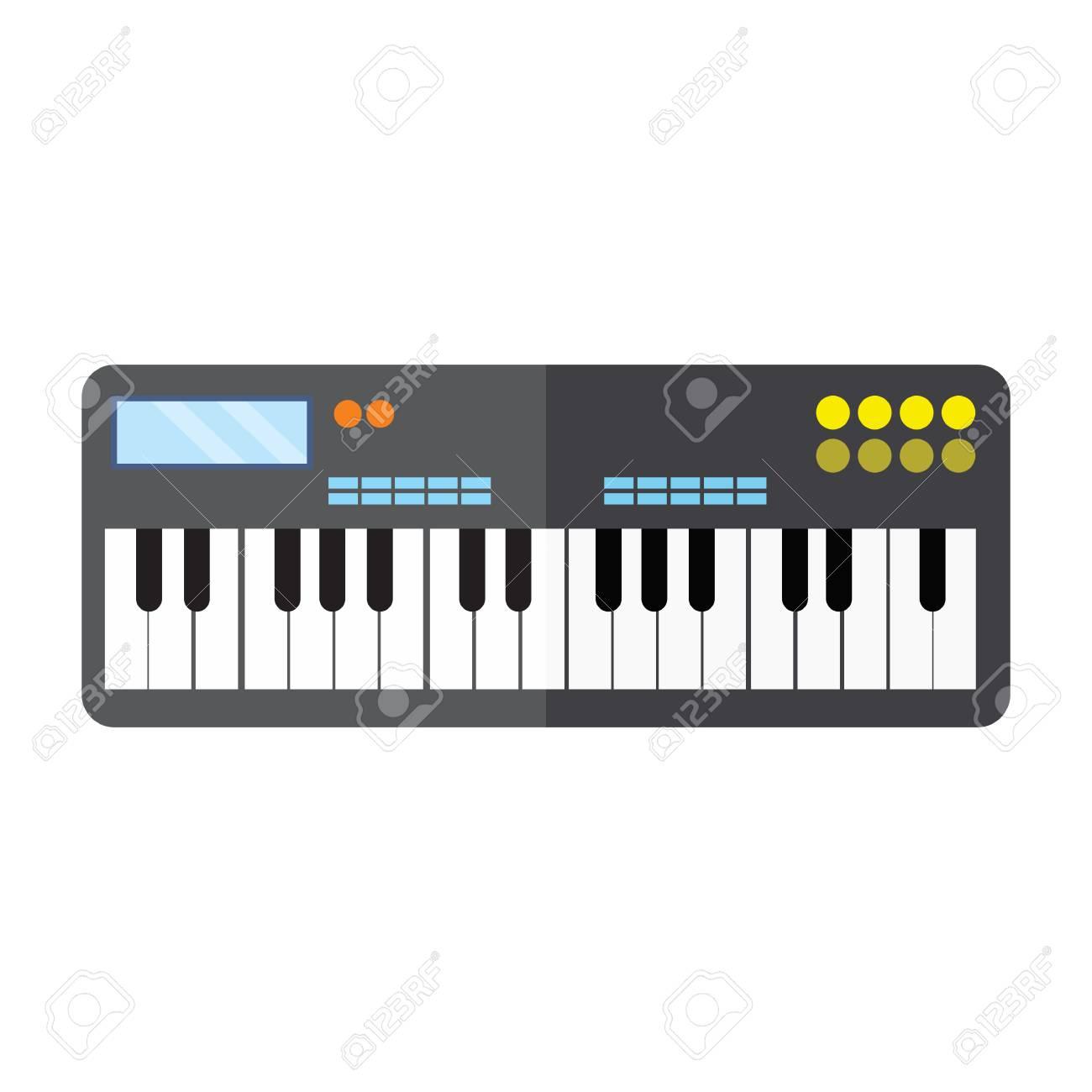 Keyboard Piano Instrument Vector Illustration Graphic Design Stock