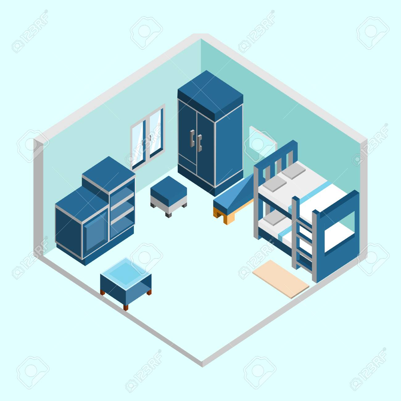 Blue Kid Bedroom Isometric Home Interior Vector Illustration Graphic Design  Stock Vector   97798017