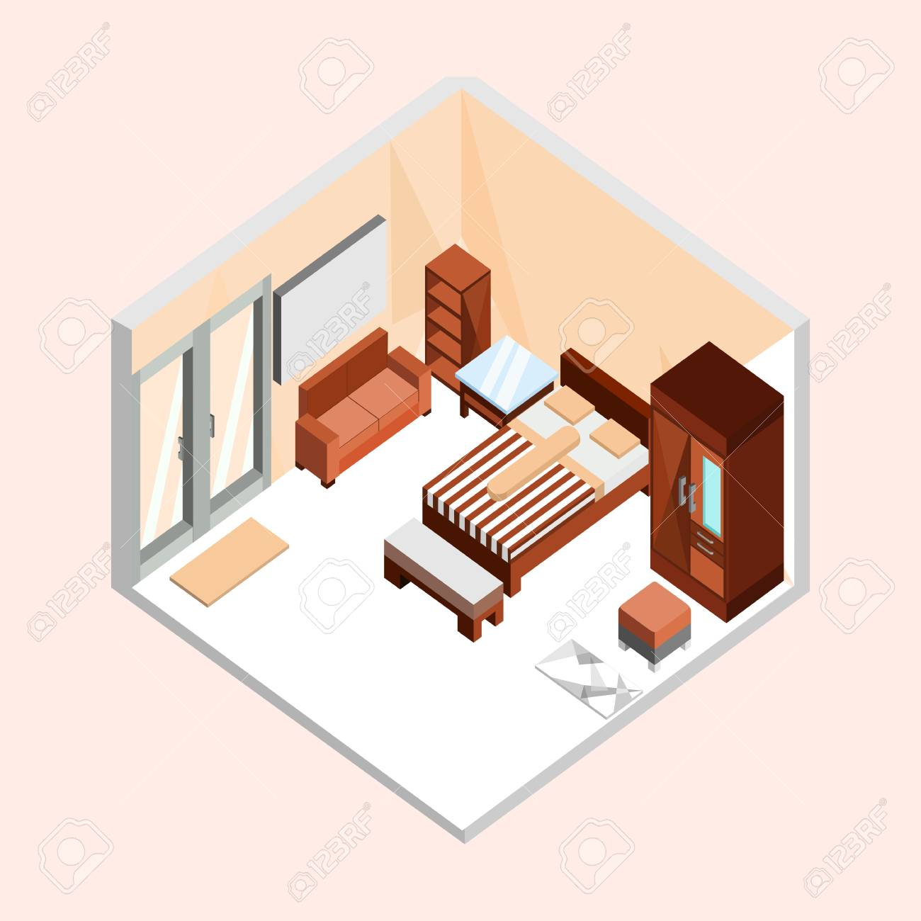 Natural Brown Isometric Home Interior Vector Illustration Graphic Design  Stock Vector   97793819