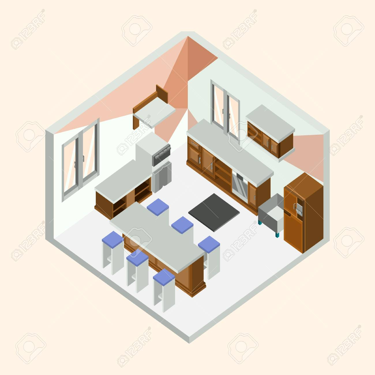 Kitchen Natural Wood Isometric Home Interior Vector Illustration Graphic  Design Stock Vector   97795116