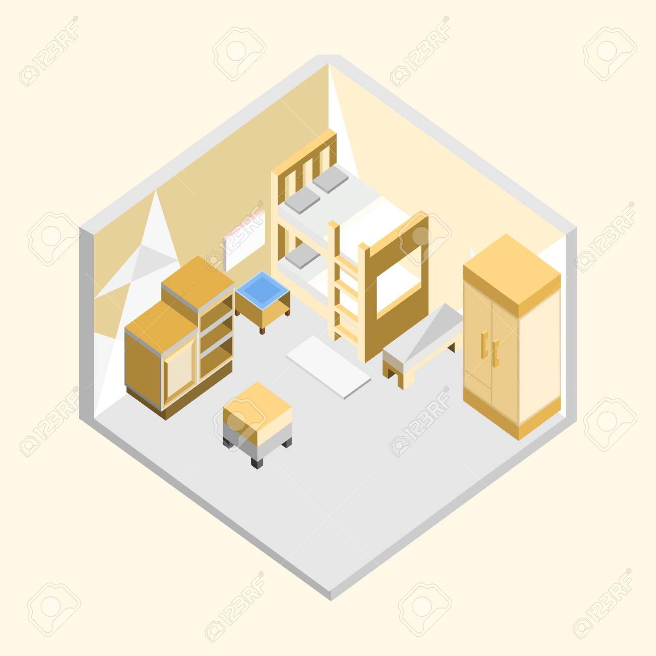 Yellow Bedroom Isometric Home Interior Vector Illustration Graphic Design  Stock Vector   97794123