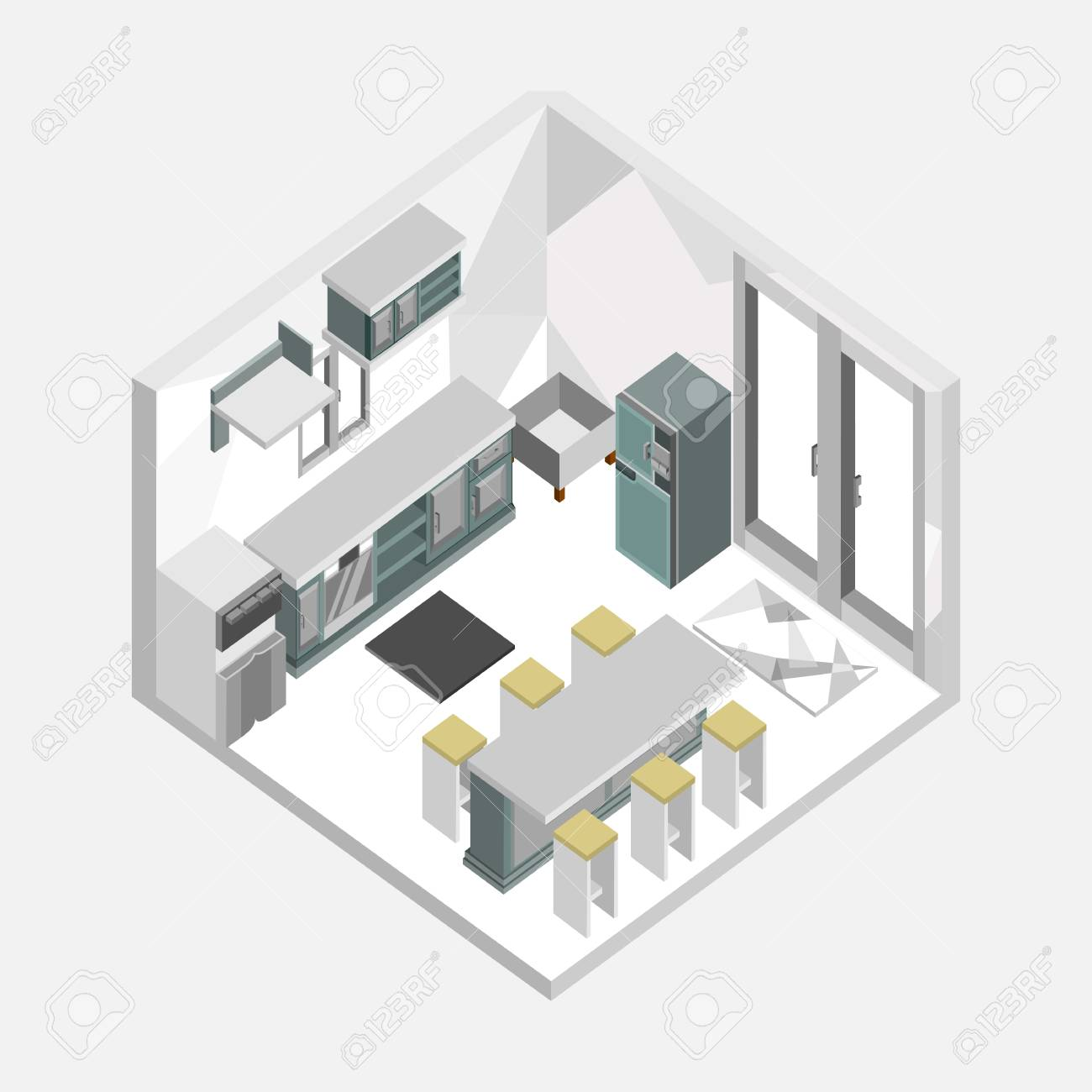 Grey Color Kitchen Isometric Home Interior Vector Illustration Royalty Free Cliparts Vectors And Stock Illustration Image 97794120