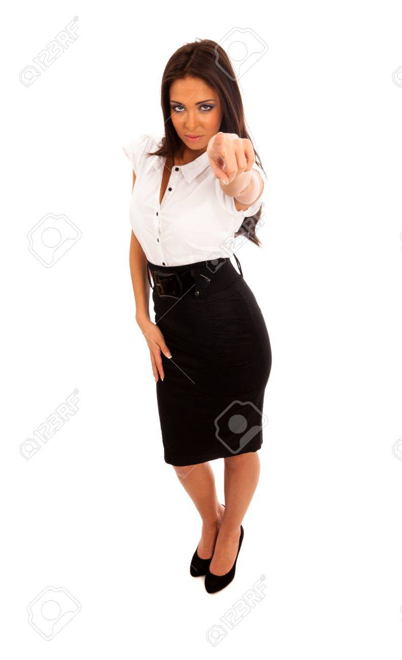 3ae308ec76 Business Woman in black skirt and white blouse pointing Stock Photo -  8789138
