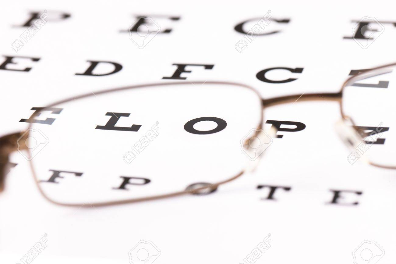 64ce009f7a a pair of reading glasses sitting on a eye test chart with only two letters  in