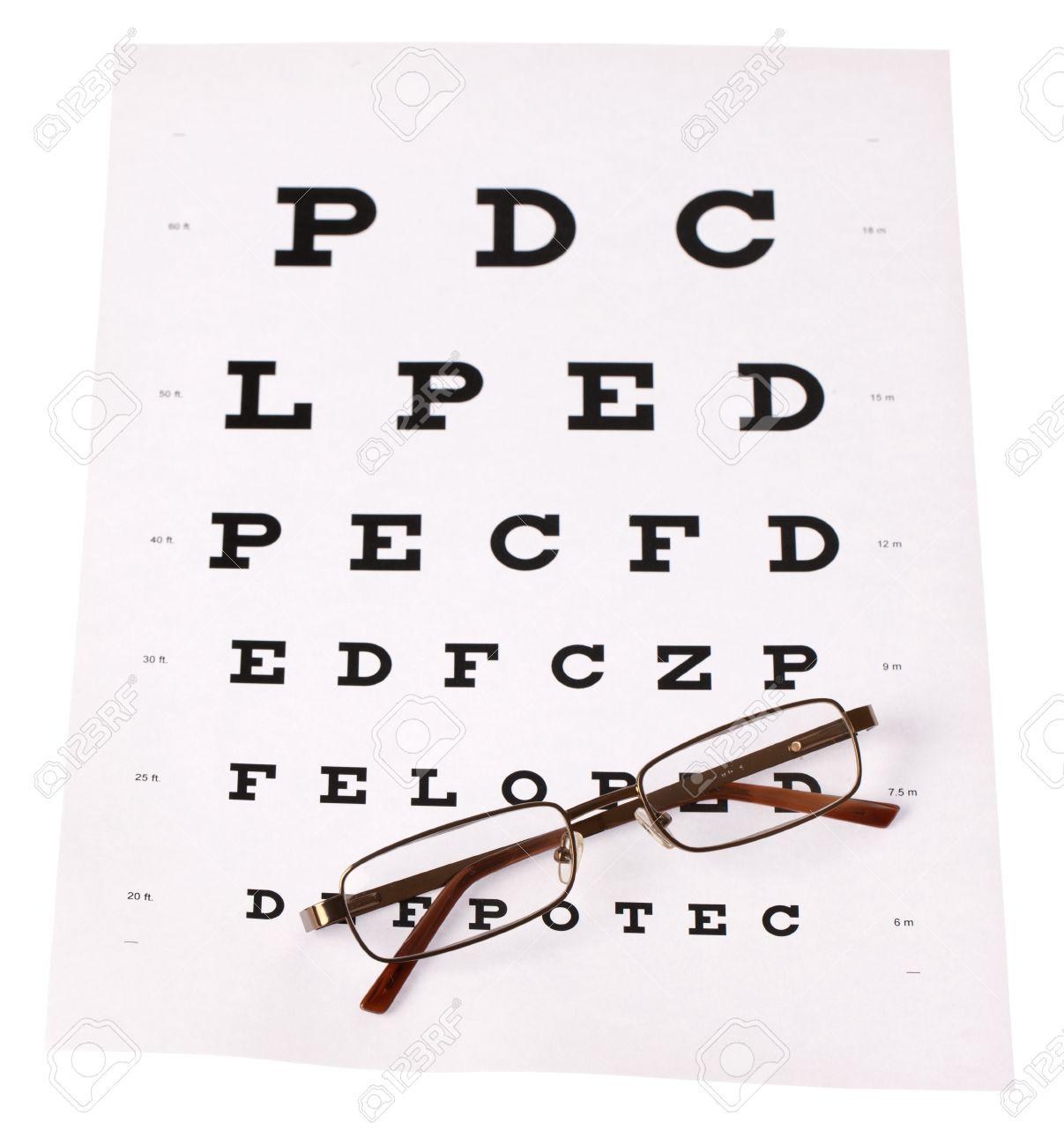 A Pair Of Reading Glasses Laid Across A Stnadard Eye Test Chart