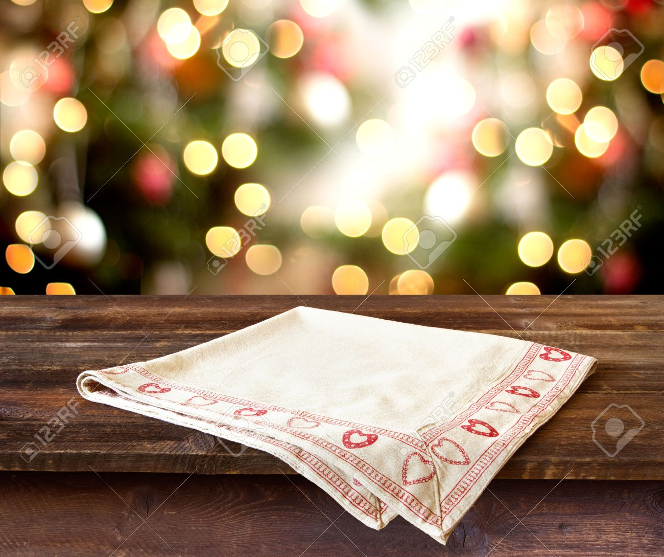 Christmas holiday background with rustic table over christmas bokeh for product montage - 32568885