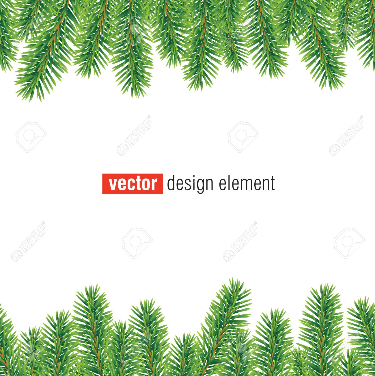 vector christmas tree border, seamless horizontally - 46325670