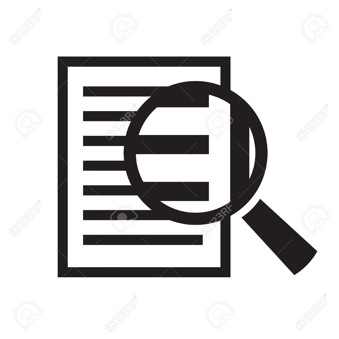 magnifying glass over document vector icon - 55637434
