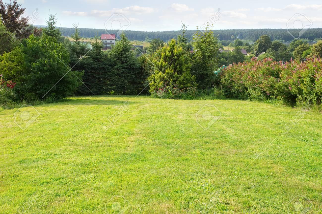 Hinterhof Landschaft, Rasen Und Bäume Standard Bild   75432368