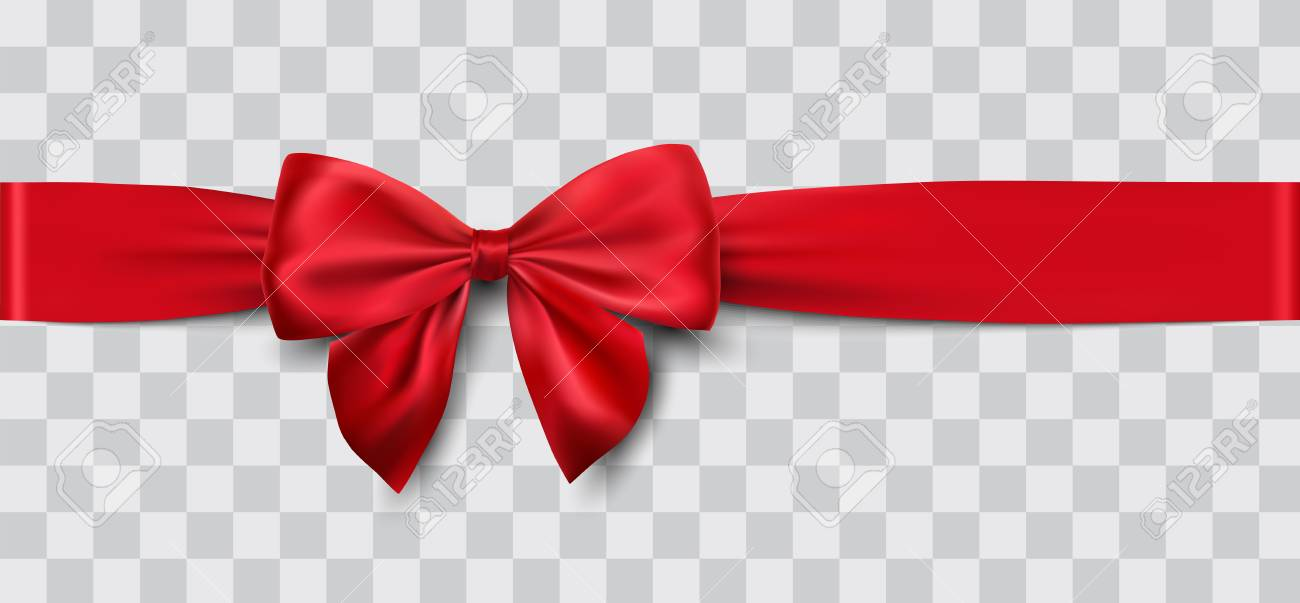 Red satin ribbon and bow vector illustration - 90094487