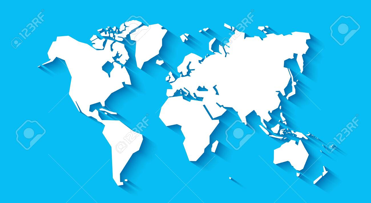 simplified vector world map Simplified World Map Stylized Vector Illustration Royalty Free