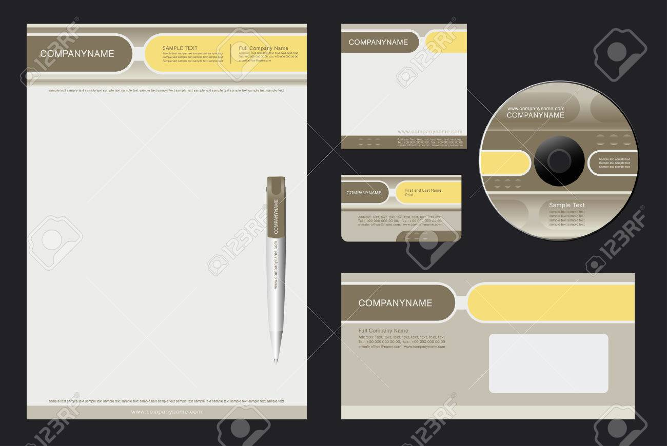 Corporate Identity Template Vector  with  grey and yellow  background - blank, card, pen, cd, note-paper, envelope Stock Vector - 4243544