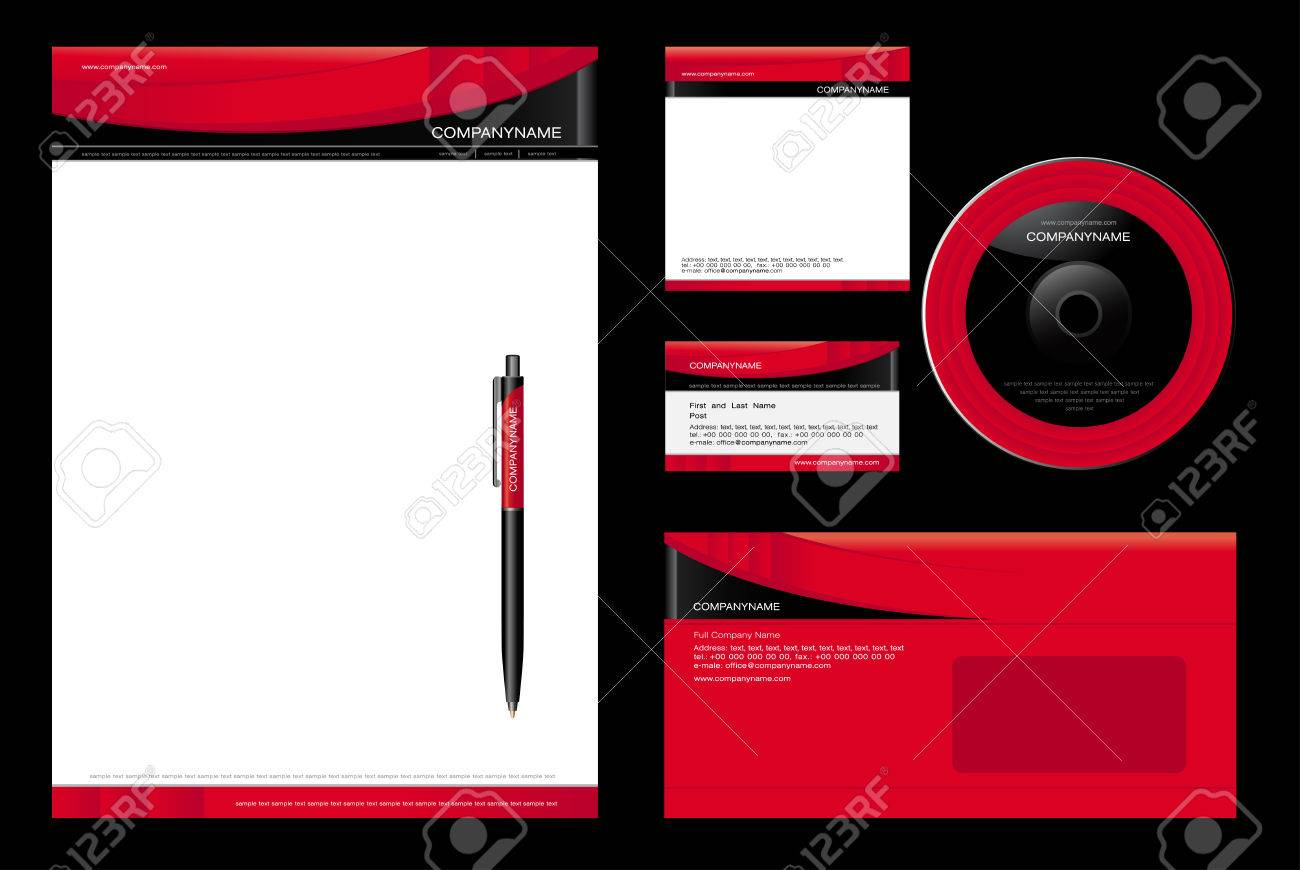 Corporate Identity Template Vector - blank, card, pen, cd, note-paper, envelope Stock Vector - 4621622
