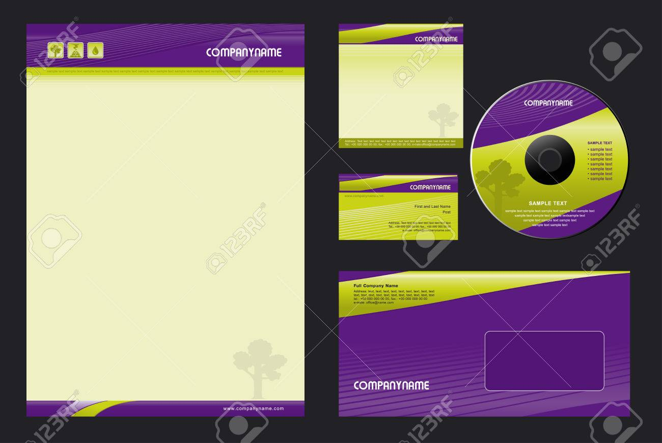 Corporate Identity Template Vector  - blank, card, cd, note-paper, envelope Stock Vector - 6317156