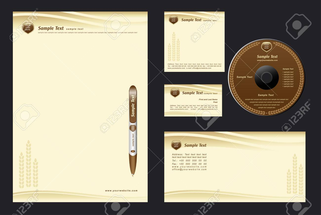 brown template background with cones for  bakehouse - blank, card, cd, note-paper, envelope, pen Stock Vector - 7022658