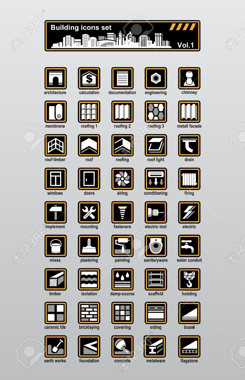 Vector building and reconstruction icons set - 7845413