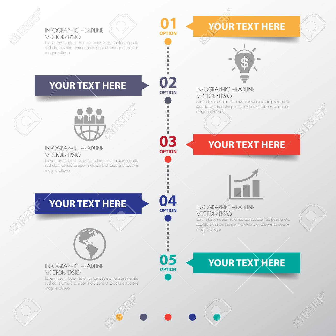 circle design clean number timeline template graphic or website