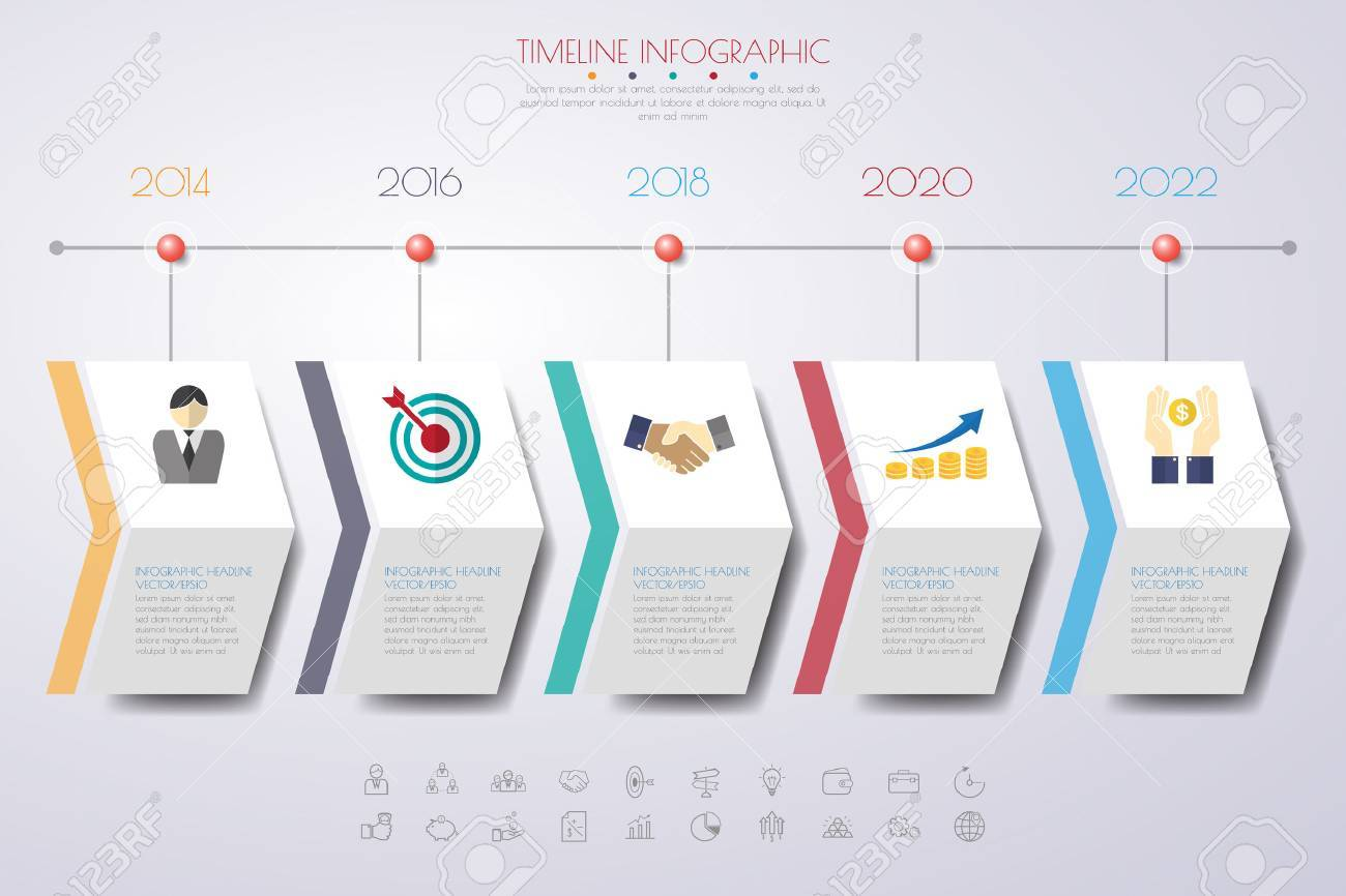 timeline infographics with icons set. vector. illustration. - 53764527