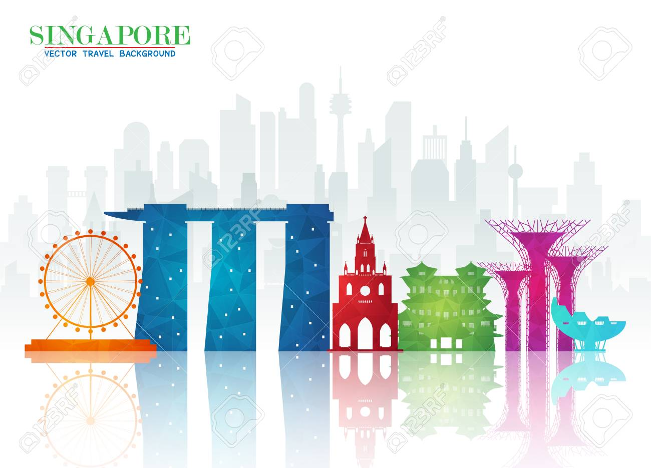 Singapore Landmark Global Travel And Journey Paper Background Vector Design Templateused For Your
