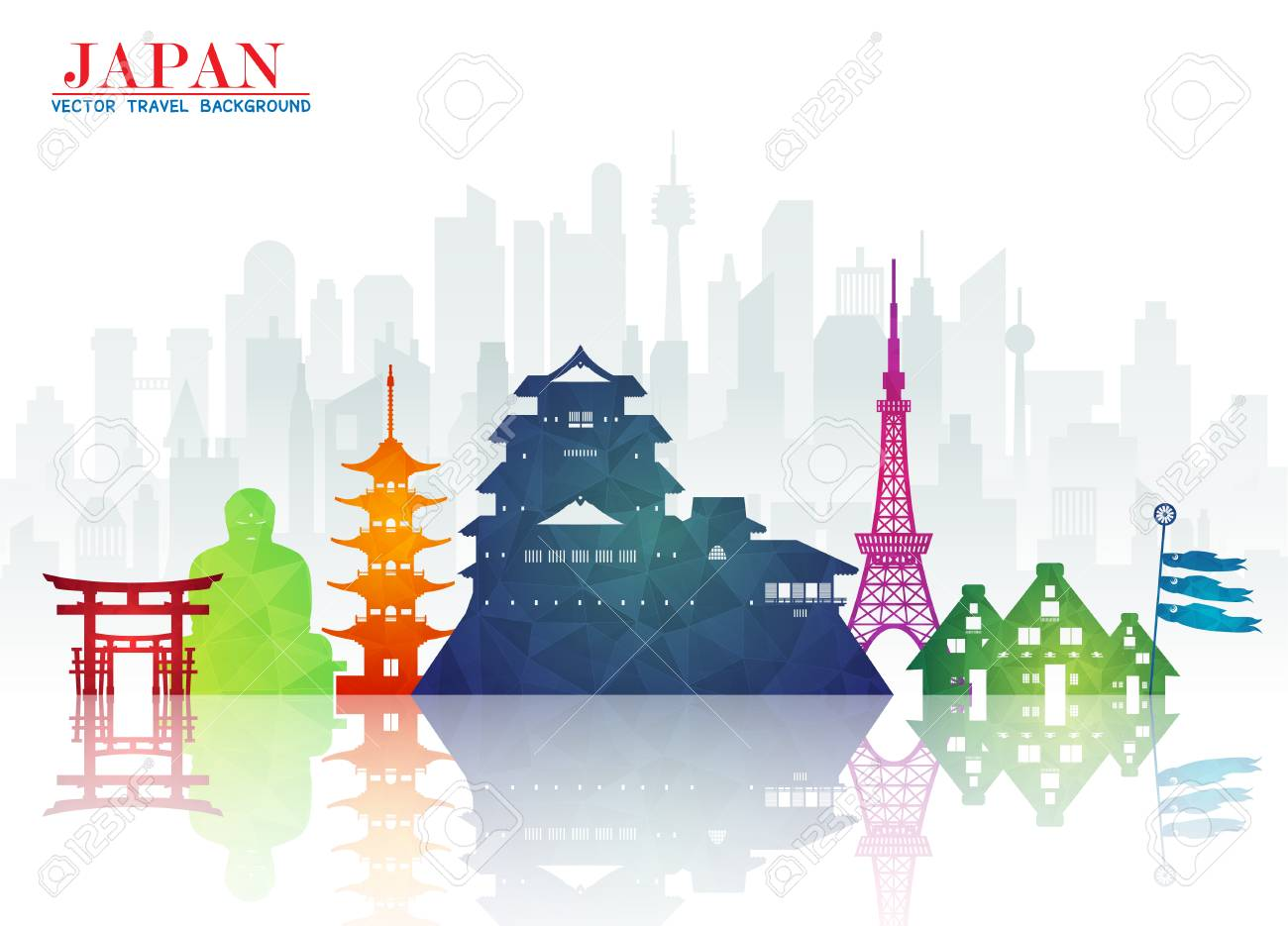 Japan Landmark Global Travel And Journey Paper Background Vector Design Templateused For Your
