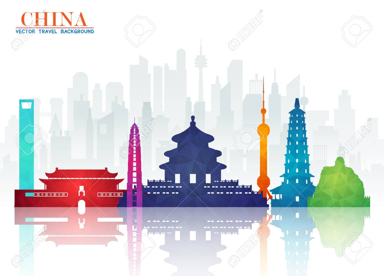 China Landmark Global Travel And Journey Paper Background Vector Design Templateused For Your