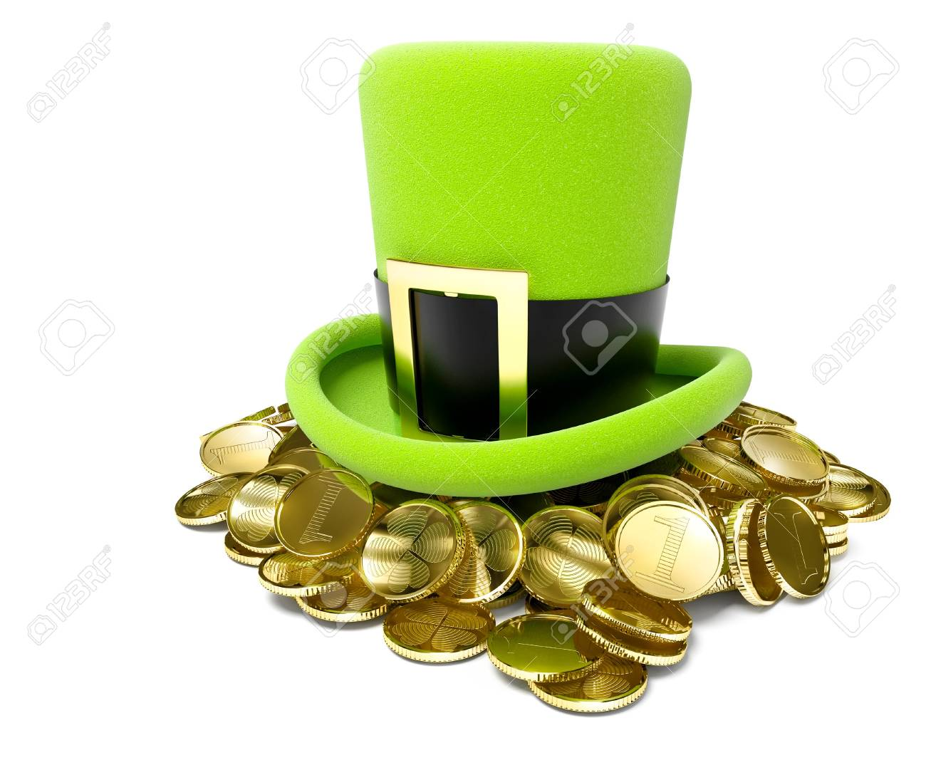 saint patrick's hat on pile of golden coin 3d-illustration isolated on white background Stock Photo - 12173902