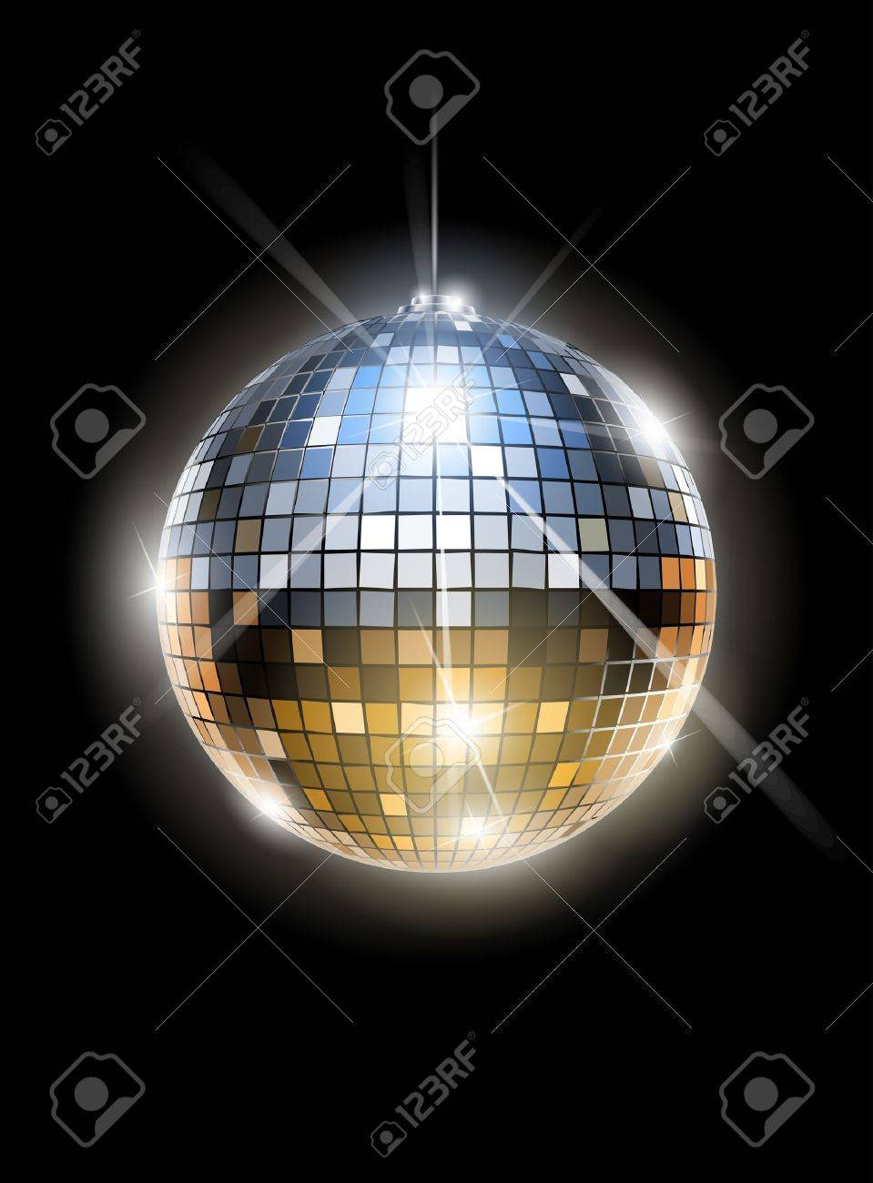 mirror disco ball vector illustration EPS10. Transparent objects and opacity masks used for shadows and lights drawing Stock Vector - 12942868