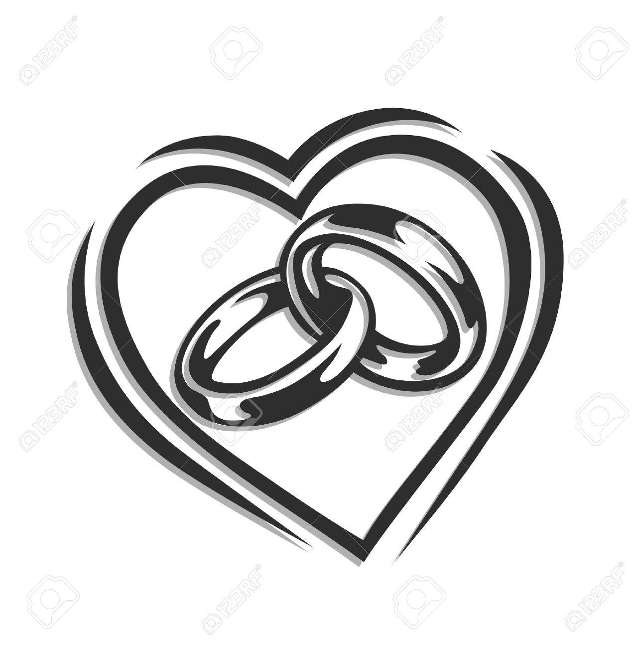 Eheringe clipart schwarz weiß  Ehering Im Herzen Illustration Isoliert Auf Weißem Hintergrund ...