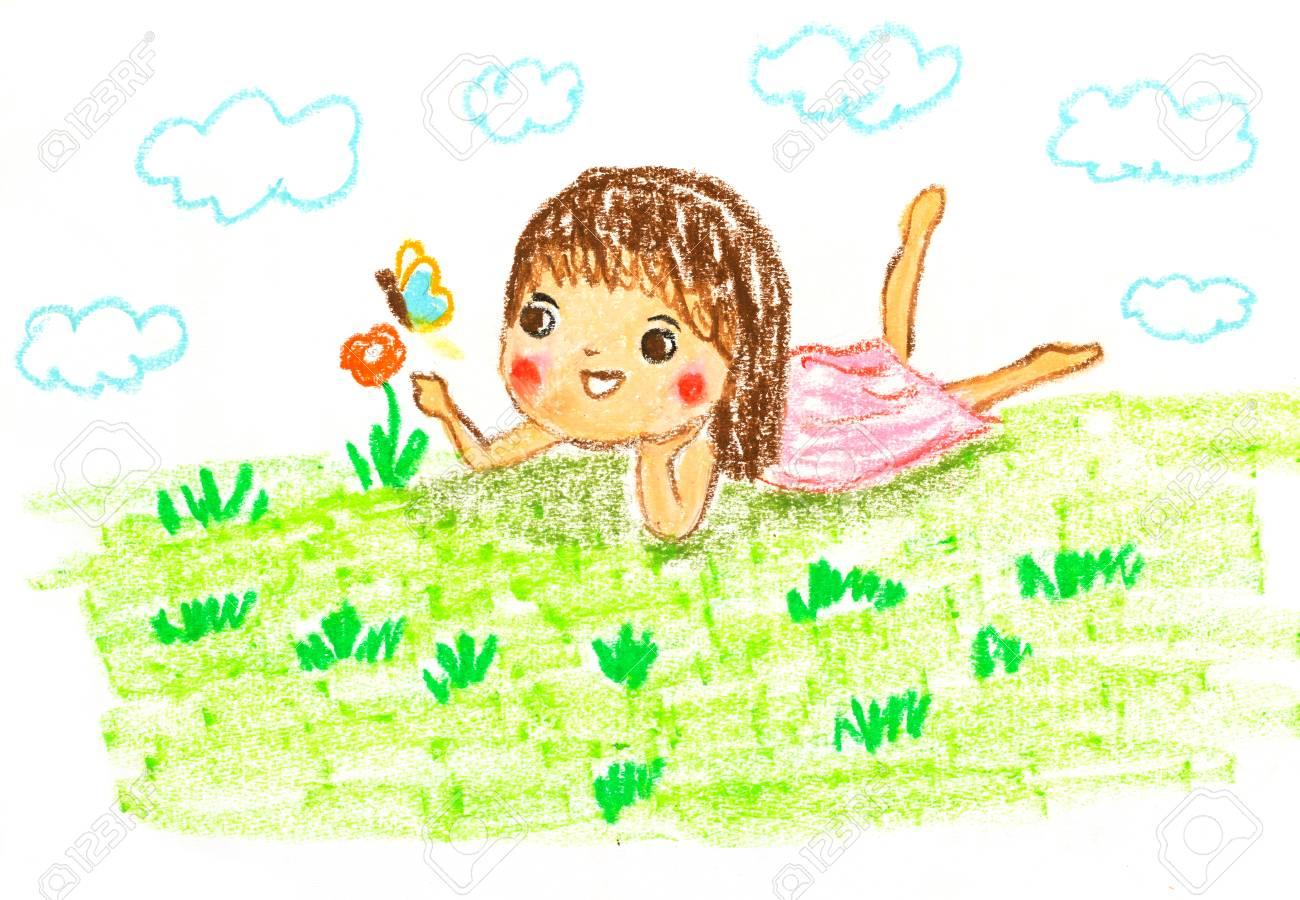 オイル パステル画用イラスト緑の草の上に横たわってかわいい女の子 の