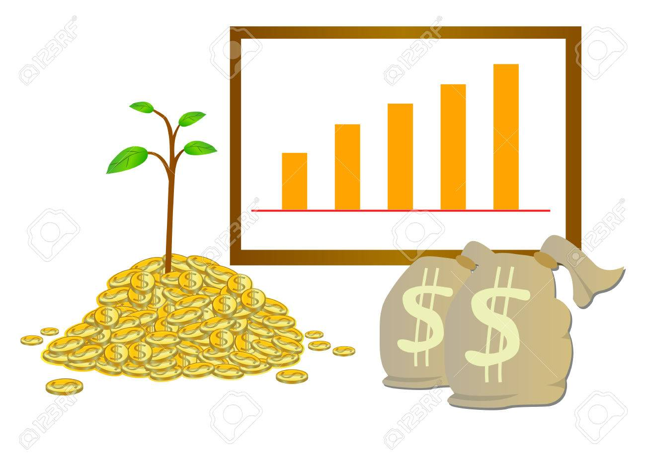 Make money grow vector with coin money bag and grow graph