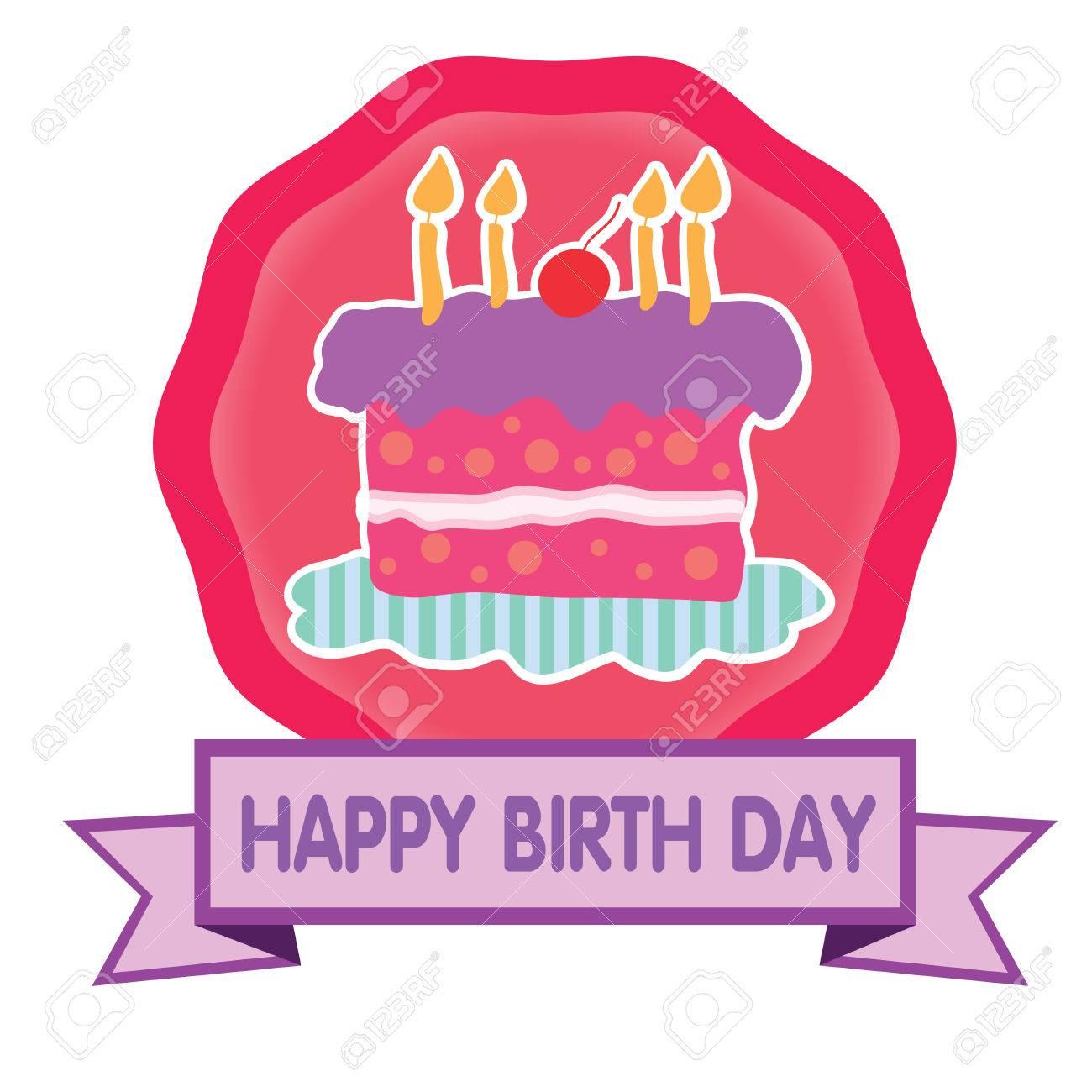 幸せな誕生日ケーキかわいいパステルのイラスト素材ベクタ Image