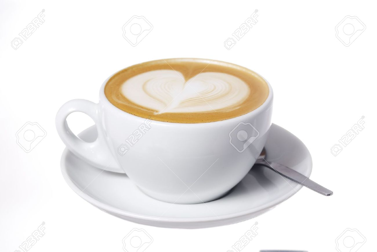 Studio Shot Latte Cup With Hear Design Stock Photo Picture And Royalty Free Image Image 12869436
