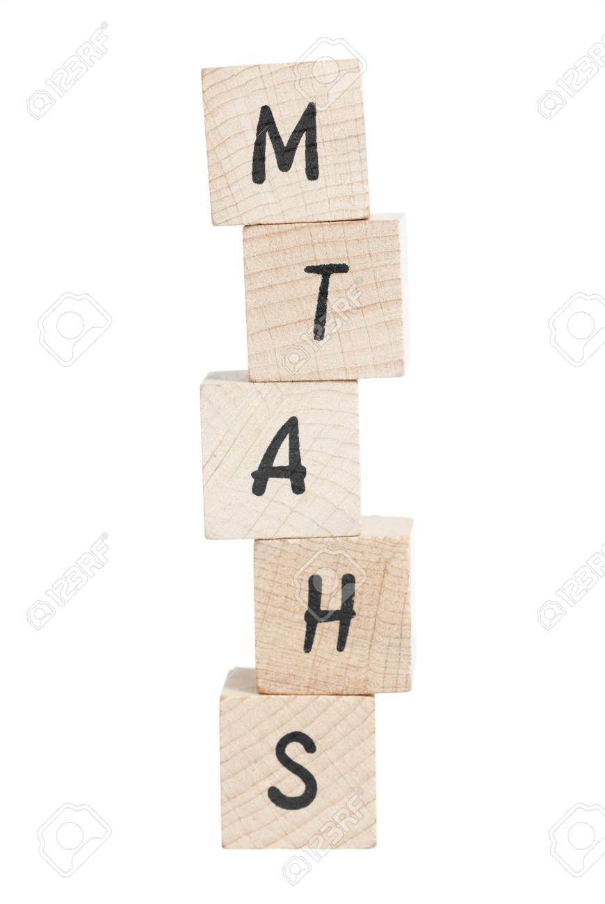 Maths tower written with wooden blocks  White background Stock Photo - 18004402
