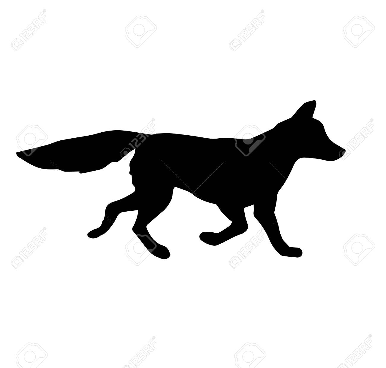 Vector black silhouette of fox isolated on white background - 128423818