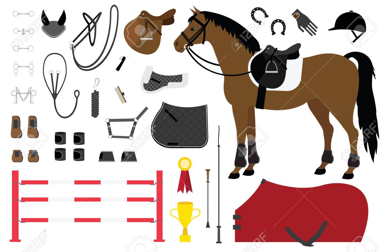 Vector Flat Cartoon Set Of Horse Riding Equestrian Sport Equipment Royalty Free Cliparts Vectors And Stock Illustration Image 128424588