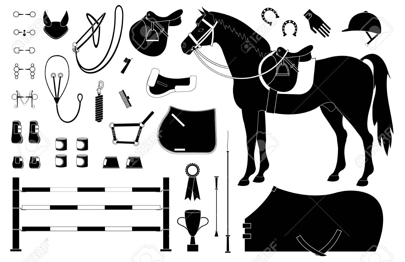Vector Black Flat Set Of Horse Riding Equestrian Sport Equipment Royalty Free Cliparts Vectors And Stock Illustration Image 128424589