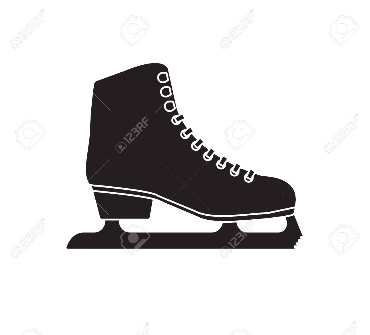 Vector black flat outline ice skates isolated on white background - 134823548