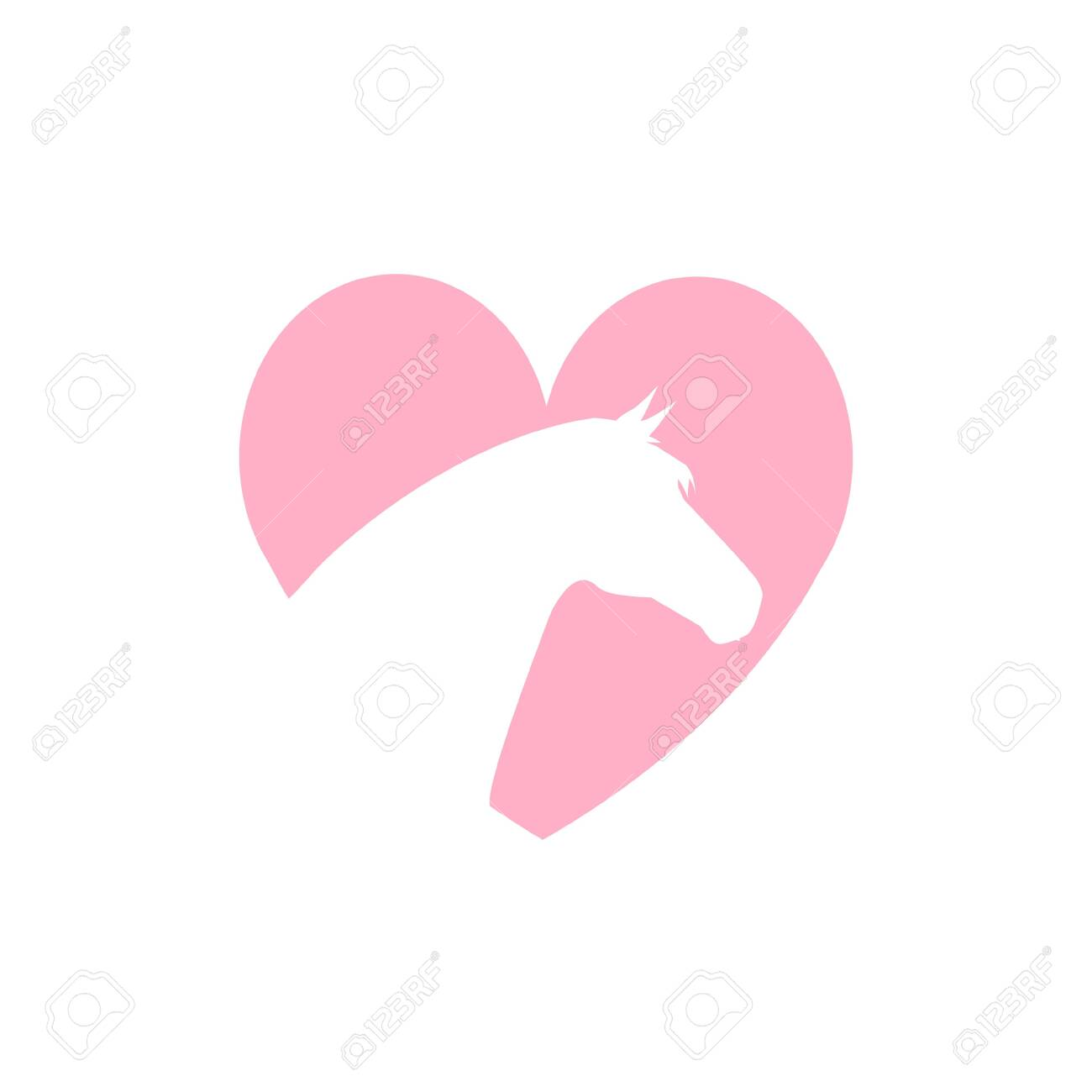 Vector Flat Pink Horse Head In Heart Logo Isolated On White Background Royalty Free Cliparts Vectors And Stock Illustration Image 137253635