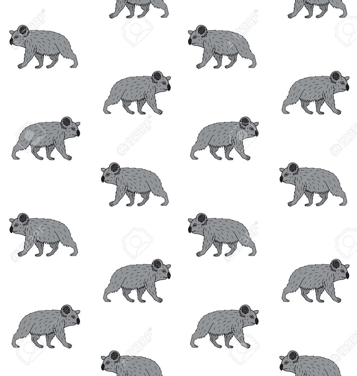 Vector seamless pattern of hand drawn doodle sketch colored walking koala isolated on white background - 139829512
