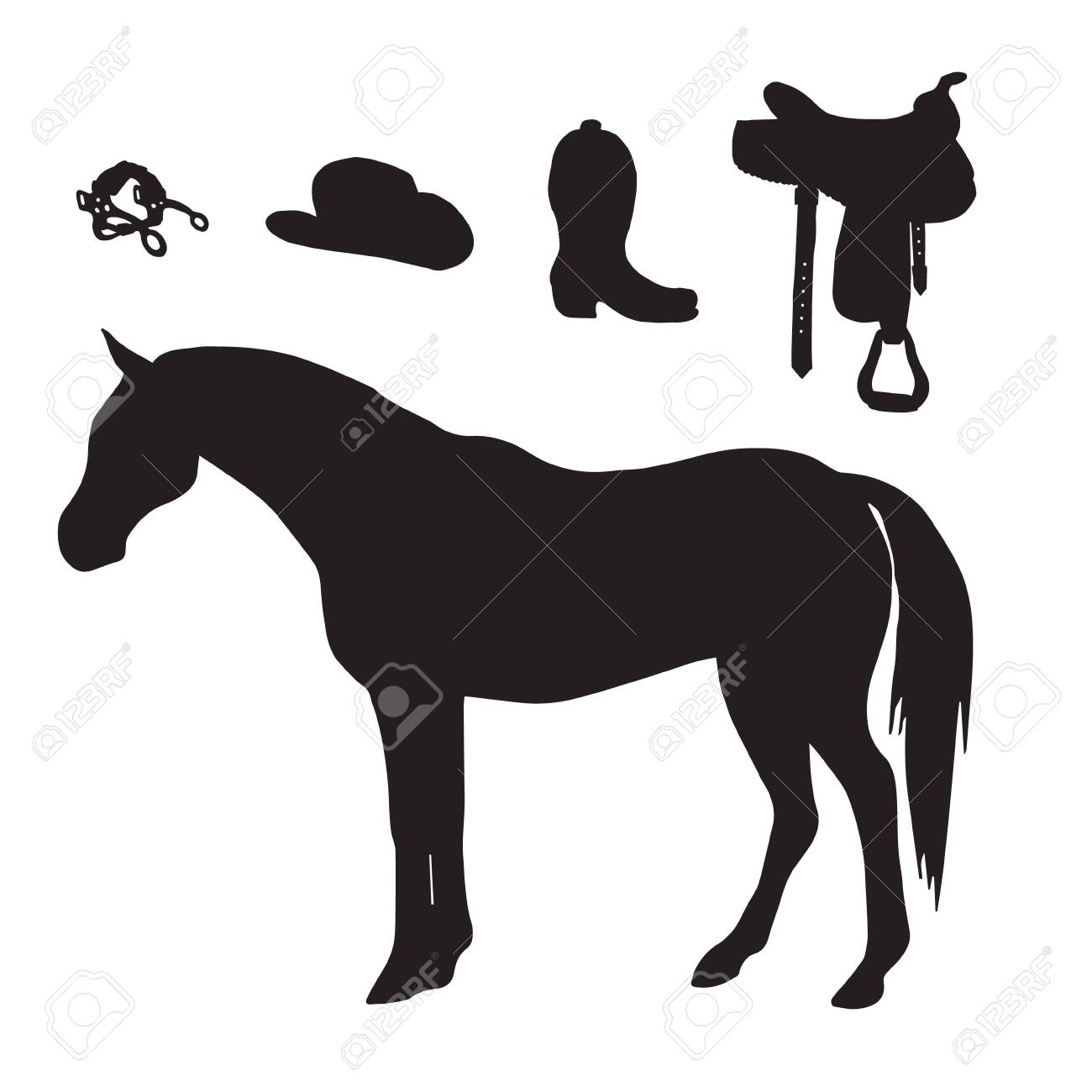 Black Horse And Riding Equestrian Cowboy Western Equipment Silhouette Royalty Free Cliparts Vectors And Stock Illustration Image 144059667