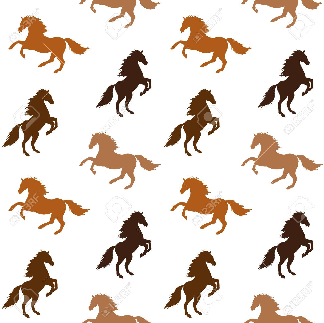 Vector Seamless Pattern Of Different Color Horses Silhouette Royalty Free Cliparts Vectors And Stock Illustration Image 149340761