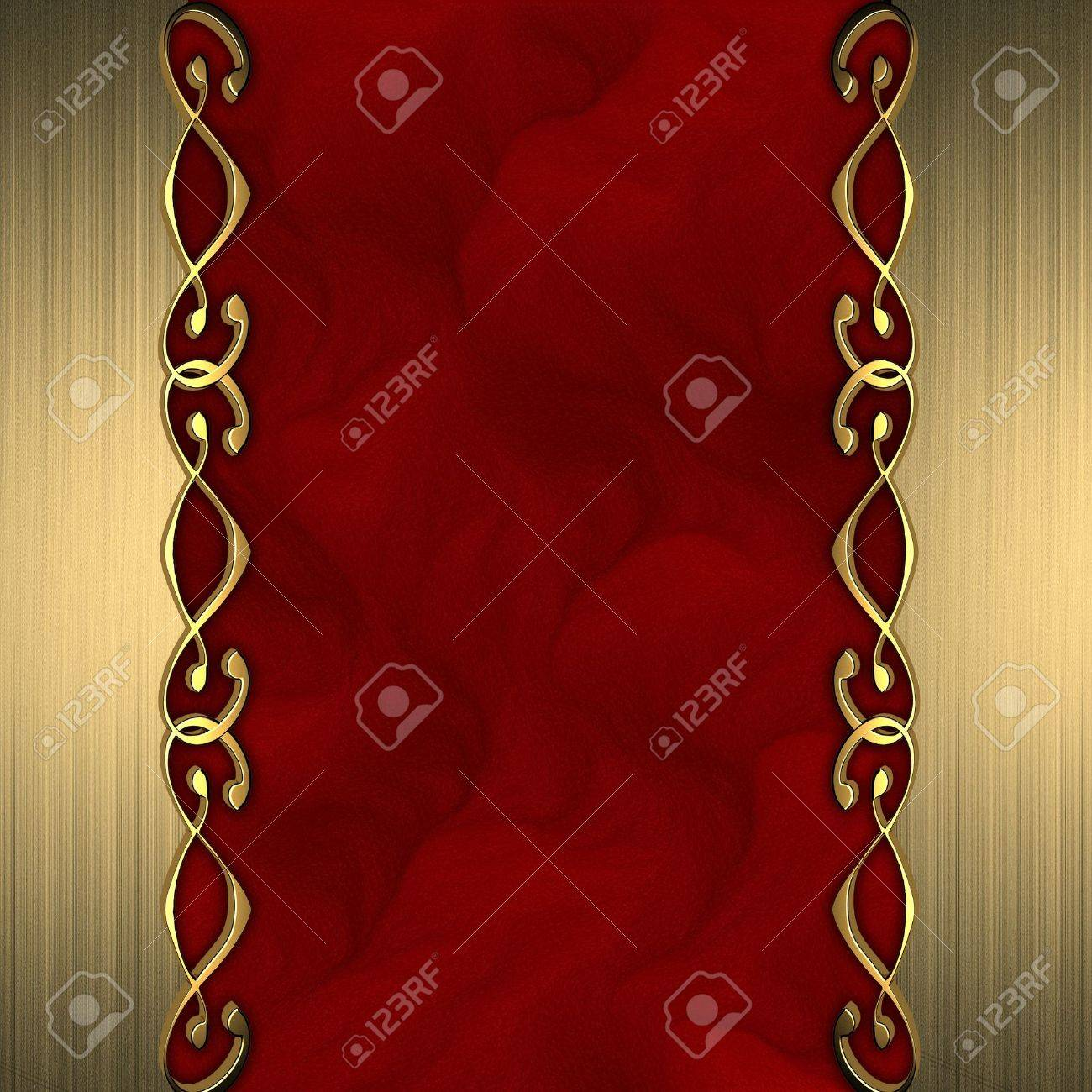 Red background with beautiful gold ornaments at the edges  nameplate for the label Stock Photo - 14125101