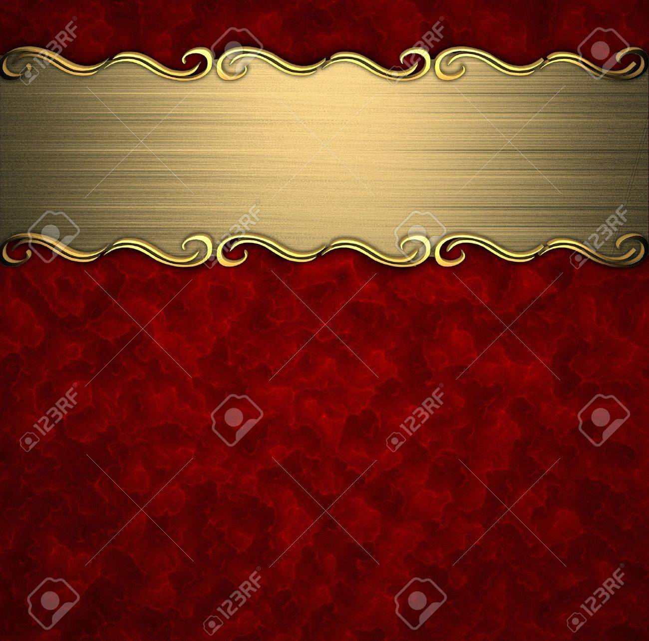 Beautiful pattern on a gold plate on a red background Stock Photo - 14124678