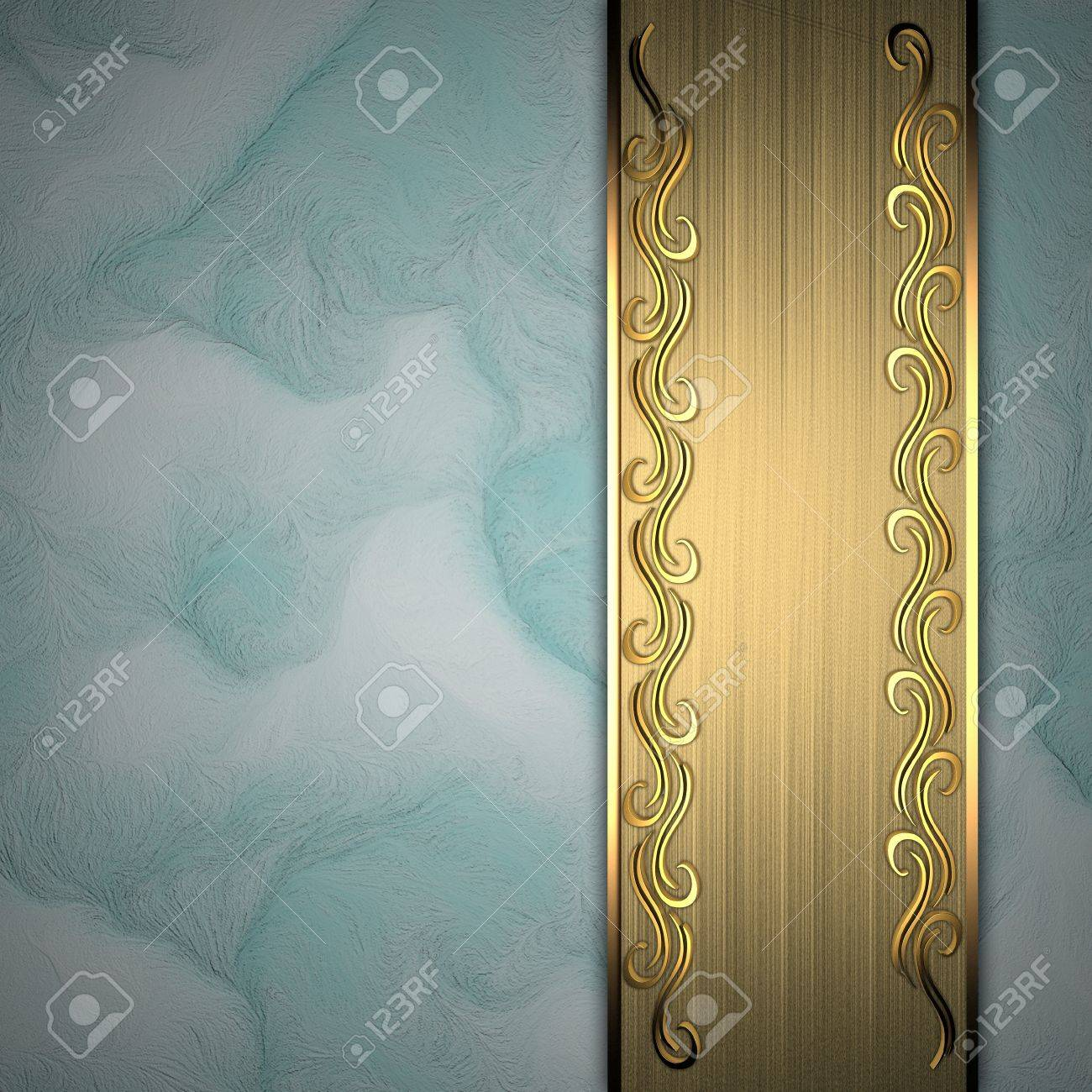 Beautiful pattern on a gold plate on a blue background Stock Photo - 14124454