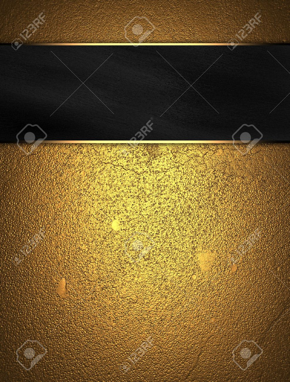 Gold background with black name plate Stock Photo - 15242055