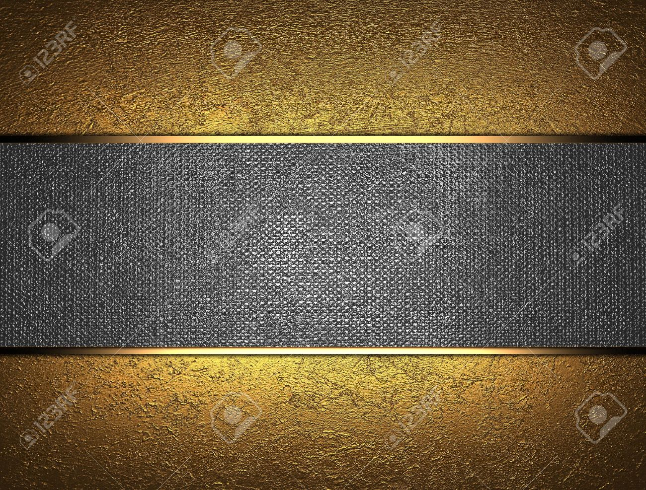 The template for the inscription  Beautiful gold background with a metal nameplate for writing Stock Photo - 15249284