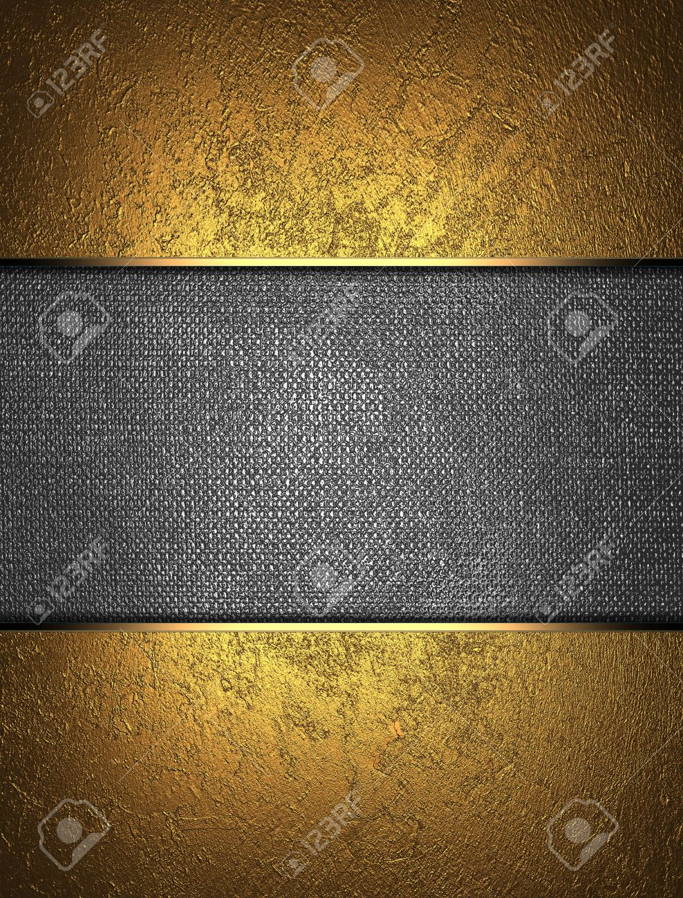 The template for the inscription  Beautiful gold background with a metal nameplate for writing Stock Photo - 15249659