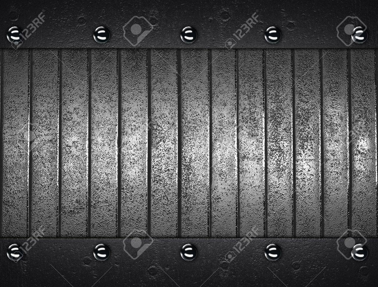 The template for the inscription  Metal Background with metal nameplate for writing Stock Photo - 16064856