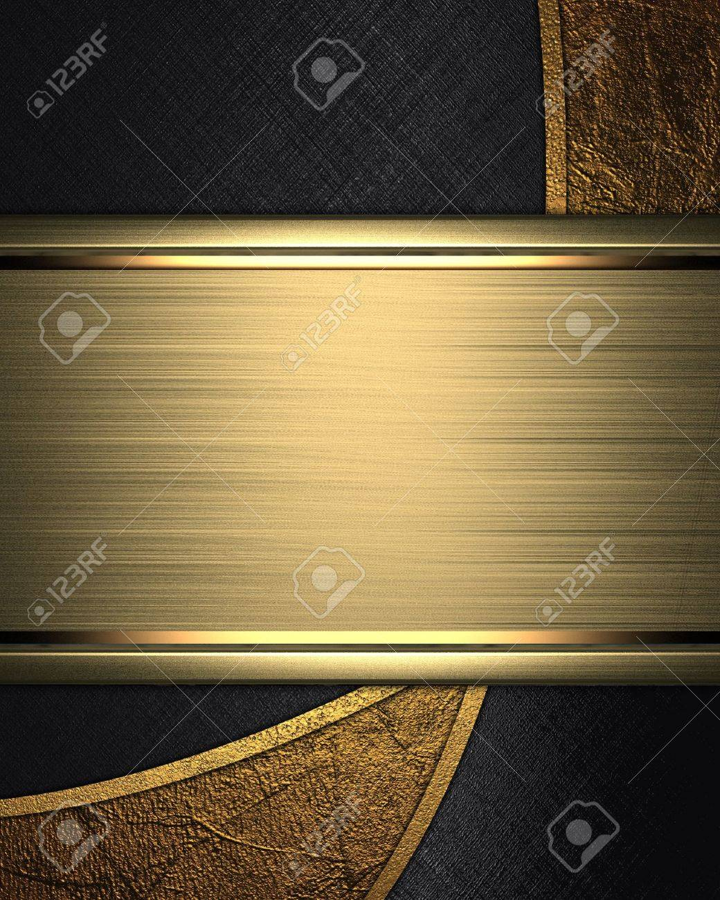 The template for the inscription  Abstract black background with gold inserts and nameplate for writing Stock Photo - 16268981