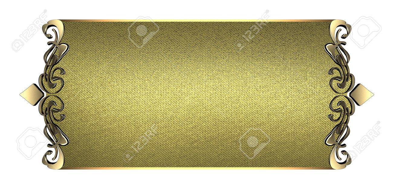 Plantilla Para Escribir Oro Placa De Identificación Con Bordes De ...